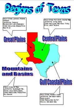 Map Of Texas For 4th Grade.Regions Of Texas 4th Grade Worksheets Teaching Resources Tpt