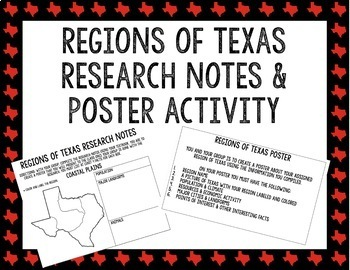 Regions of Texas Research Notes & Poster Activity || Texas History