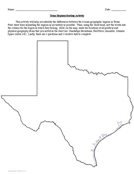 Regions of Texas Sorting and Map Activity