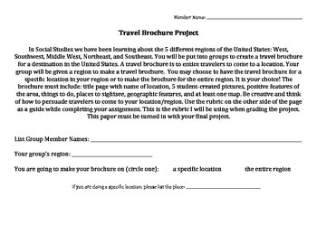 Regions of US Travel Brochure with Planner and Rubric