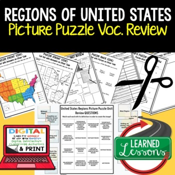 Regions of United States Picture Puzzle, Test Prep, Unit Review, Study Guide