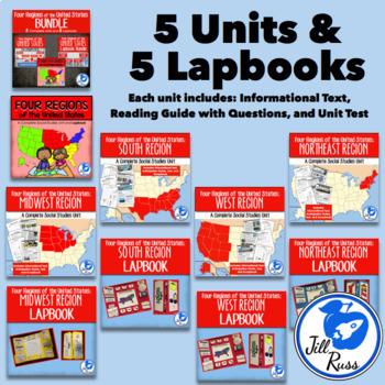 Regions of United States Units and Lapbooks Bundle (Four Regions Version)