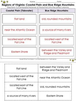 Regions of Virginia: Coastal Plain and Blue Ridge Mountains Cut and Paste