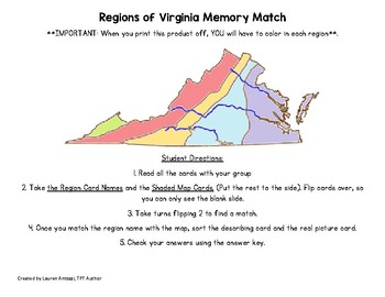 Regions Of Virginia Memory Match Game By Lauren Garay Tpt