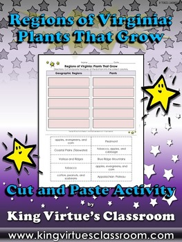 Regions of Virginia: Plants That Grow Cut and Paste Activity - King Virtue