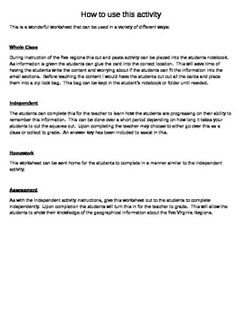 Regions of Virginia Review Worksheet