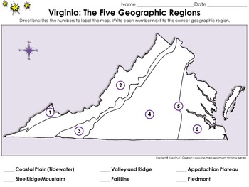 Regions of Virginia: The Five Geographical Regions - Locate Places on a Map #1