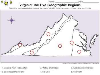 Geographic Regions Of Virginia Map.Regions Of Virginia The Five Geographical Regions Locate Places