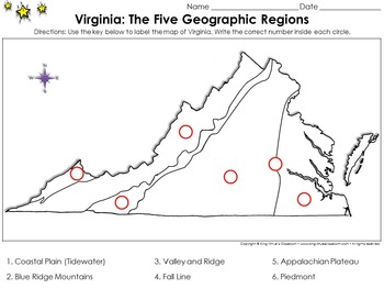 Regions of Virginia: The Five Geographical Regions - Locate Places on a Map #2
