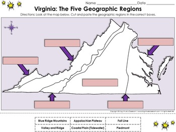 Geographic Regions Of Virginia Map.Regions Of Virginia The Five Geographical Regions Of Virginia Cut
