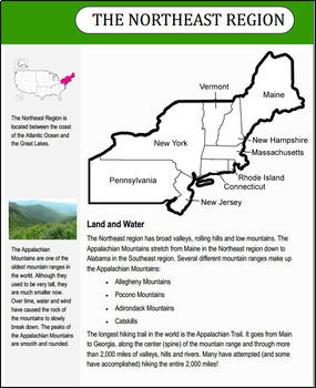regions of the u s northeast region informational text and