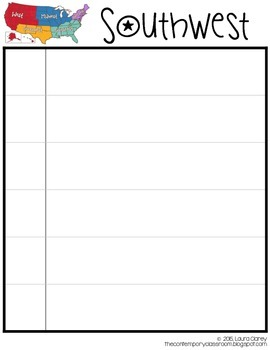 Regions of the US - Graphic Organizer for Note Taking, Letter Size