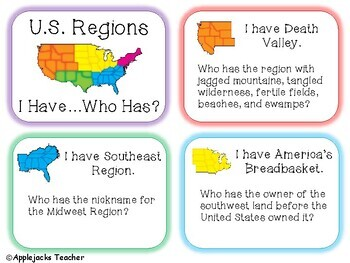 Regions of the U.S. - I Have...Who Has? Game