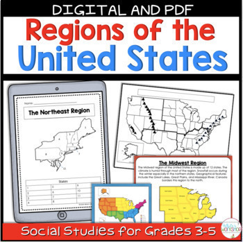 Regions of the United States Map Tasks and Activities
