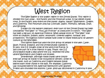 Regions of the U.S. Project with Text, Note Taking, and Summarizing