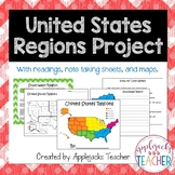 Regions of the U.S. Project with Text, Note Taking, and Su
