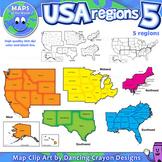 Regions of the USA: Five Regions - Map Clip Art