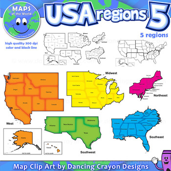Regions of the USA Five Regions  Map Clip Art by Maps of the World