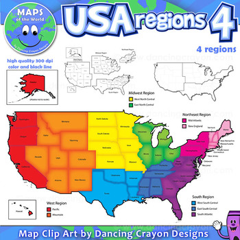 Regions Of The USA Four Regions Map Clip Art By Maps Of The World - 4 regions of us map