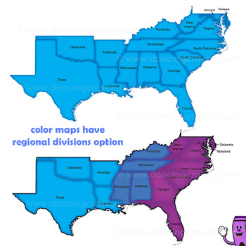 Regions of the USA: Four Regions - Map Clip Art