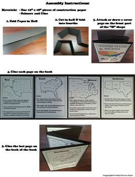 Five Regions of the United States Geography Interactive Notebook Foldable