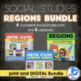 Regions of the United States Bundle 6 Units Lapbooks Print and Distance Learning