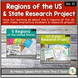 Regions of the United States Bundle & State Research Project with Rubric