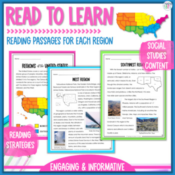 Regions of the United States Close Reading Passages, Vocabulary, & Map Activity