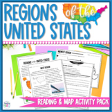Regions of the United States Close Reading, Vocabulary, & Map Activity