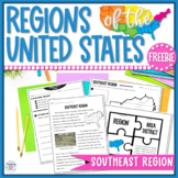 Regions of the United States Close Reading, Vocabulary, & Map Activity FREEBIE