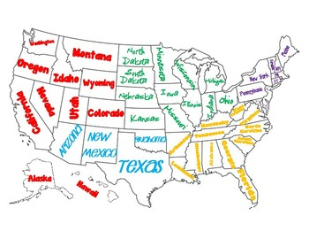 Regions Of The United States Map Poster By Education Lane Tpt