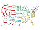 Regions of the United States Map/Poster