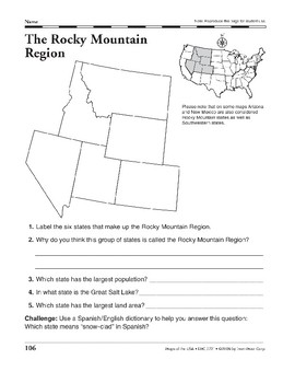 Regions of the United States (Maps & Questions)