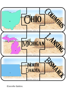 Regions of the United States - Midwest - States Matching Puzzle Activity