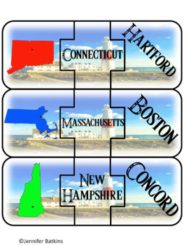 Regions of the United States - Northeast - States Matching Puzzle Activity