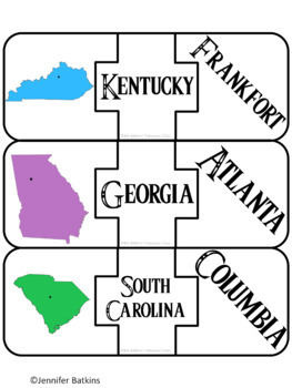 Regions of the United States - Southeast - States Matching Puzzle Activity