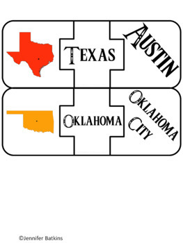Regions of the United States - Southwest - States Matching Puzzle Activity