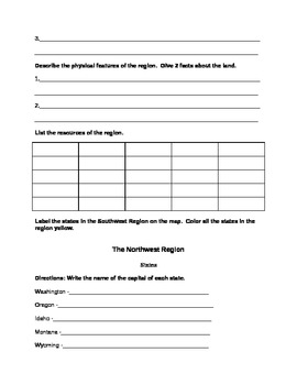 Regions of the United States Worksheets