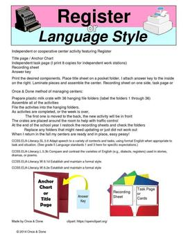 Register or Language Style, Formal or Casual, Center Activity and Anchor Chart