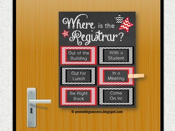 Where is the Registrar Sign, Red and Black Back to School Office Decor