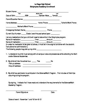 Registration for saturday academy or school