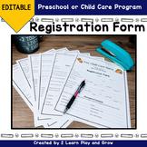 Registration form for Preschool or Child Care