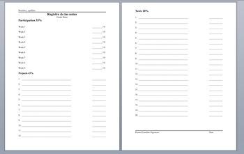 Registrio de las notas (Grade Sheet)