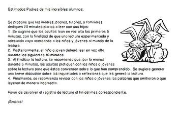 Registro de lectura - Spanish Reading Log