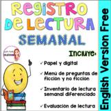 Reading log in Spanish - Registro de lectura semanal