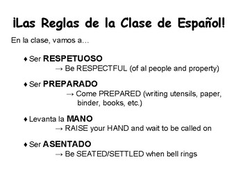 Reglas de la Clase Español / Rules of the Class in Spanish