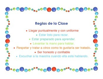 Reglas de la Clase/Class Rules in Spanish