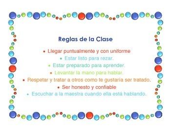 Reglas de la Clase/Class Rules in Spanish