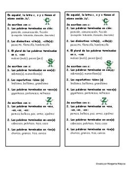 Reglas de ortografía letras c, s y z /s/
