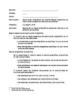 Acentuación ortográfica-Reglas especiales sobre las palabr